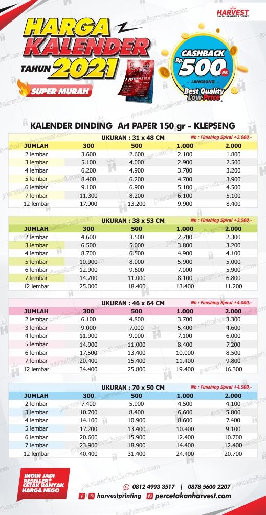 Kalender dinding Art Paper 150gr + Klepseng | Harvest Surabaya