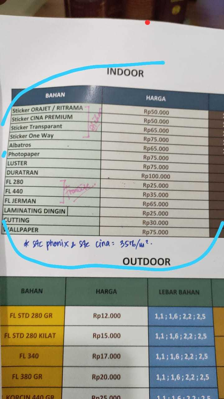 price list cetak stiker murah Surabaya, stiker one way, stiker transparan, laminating dingin, cutting